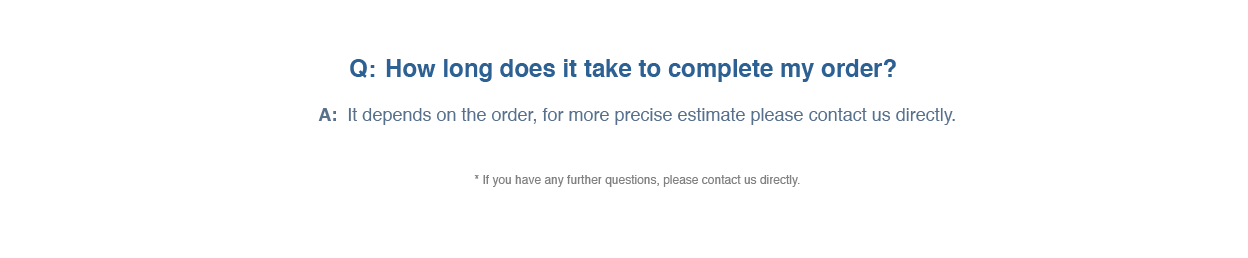 FAQ how to complete your order